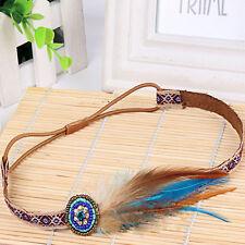 Retro Feather Hippy Headband Festival boho Hairband Floral Hair Accessories