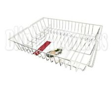 LARGE WHITE WIRE DISH PLATE CUTLERY HOLDER DRAINING BOARD SINK RACK DRAINER
