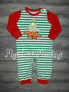 NEW Boutique Baby Boys Christmas Tree Romper Jumpsuit