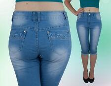 Neues AngebotDamen Jeans Capri Hose Caprijeans Normalsitzend Blau 36 38