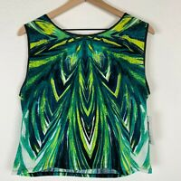 Bisou Bisou Michele Bohbot Womens Large Green Mirrored Leaf Tank Top