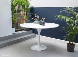 120cm Circular - White Laminate Tulip Table - designed by Eero Saarinen