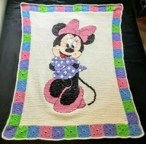 """Minnie Mouse Handmade Multicolored Crocheted Blanket Wonderful Condition 50""""x39"""""""