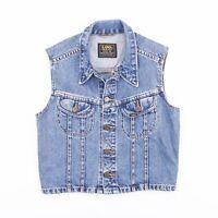 Vintage LEE Blue Fitted Cropped Denim Vest Jacket Womens Size Medium