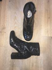 Black Patent Croc Shoe Sock Boots RI River Island 37 4