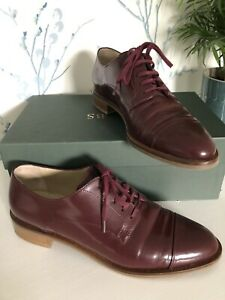 HOBBS Dark Claret Red Patent Leather Lace Up Derby Brogues Flat Shoes UK 6 EU 39