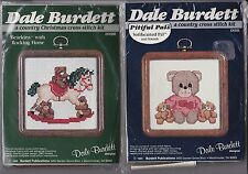 2 Dale Burdett Cross Stitch Kits Sealed Bearkins w/Rocking Horse Softhearted Pal