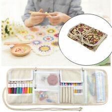 Us Crochet Hooks Kit Organizer Travel Canvas Roll Set Crocheting Accessories
