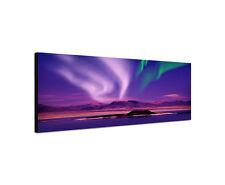 120x40cm Nordlicht Panorama lila Aurora Seelandschaft Polar Leinwand Bild Sinus