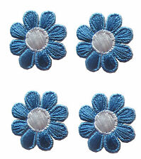 2987Sb Lot 4Pcs Spring Blue White Daisy Flower Embroidery Iron On Applique Patch