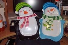 Snowman/Penquin Platter Set, Made of Hard Plastic, Great for Serving Snacks