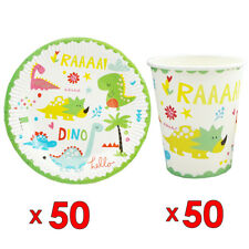 50pcs Paper Plate And 50pcs Cup Dinosaur Theme Birthday Party Tableware Set