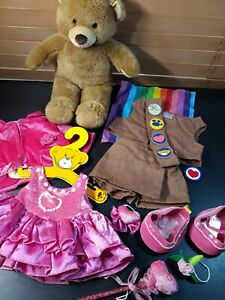 Build a Bear BROWNIE GIRL SCOUTS BEAR SHOES DRESS COAT pink stuffed clothes lot