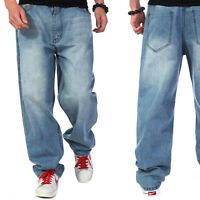 Too Small? Plus Size! Mens Jeans Hip Hop Trousers Loose Simple Distressed W30-46