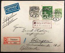 Denmark #C1,4 on 1932 Registered Cover to Solingen,Germany