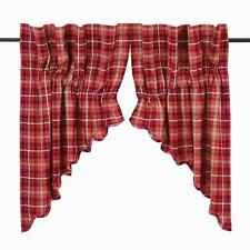 BRAXTON Scalloped Prairie Swag Set Lined Red/Ebony/Natural Lodge Rustic Plaid