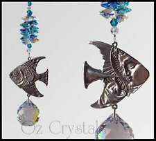 Angel Trumpet Fish Suncatcher made with Swarovski Crystal & Pewter