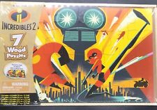 Disney Pixar Incredibles 2 Wooden Puzzles in Storage Box 7 NEW puzzles SEALED