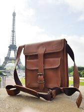 Real leather brown men side shoulder bag satchel Strap messanger Bag *LondonWear