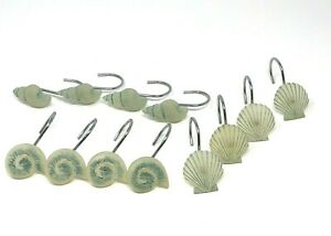 12 Off White Acrylic Shower Curtain Hooks Shell Design w/ Blue Accents