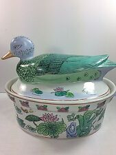 Vintage Asian Hand Painted Duck Lidded Oval Casserole Baking Dish