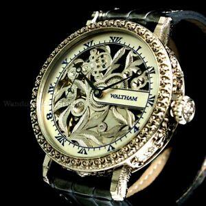 Vintage Men's Wristwatch Skeleton Men American Mens Wrist Watch Waltham Movement