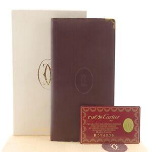 Authentic Cartier Must De Long Wallet Bordeaux Leather L3000003 #f02990