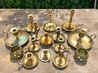 """Lot 15 Brass Candlesticks Holders Wedding Table Decor Patina Candle 7 3/4"""" to 2"""""""