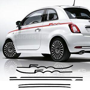 2 adesivi strisce fiancate Fiat 500 SEMISCRITTA fasce tuning stickers decal