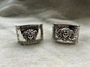 Collectable Designer Gianni Versace Solid Sterling Silver 925 Pair Napkin Rings