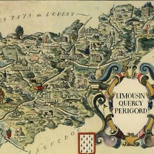 Quercy France small cartoon map c. 1950 decorative old map Limousin Perigord