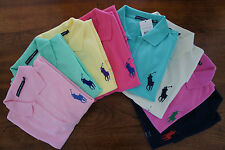 RALPH LAUREN LADIES VOLLEY BIG PONY POLO SHIRT WHITE NAVY PINK GREEN XS S M L XL