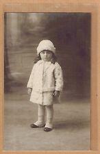 Carte Photo vintage card RPPC fillette manteau bonnet fourrure mode pz0216