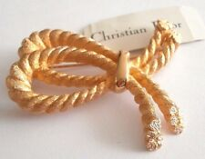 Signed Christian Dior Double Loop Rope Pin Brooch Gold Plated New (D)