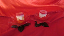 2 Vintage Glass Poinsettia Christmas Candle Holders