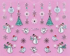 Christmas SILVER White Snowflakes Snowman Tree Bird 3D Nail Art Sticker Decal
