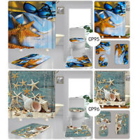 4pcs/set Waterproof Bathroom Toilet Cover Mat Shower Curtain Plain With 12 Hooks