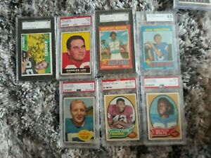1960-1971  topps football psa & sgc lot of 4 cards