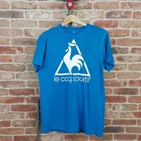 LE COQ SPORTIF VTG Tee T Shirt Logo Spell Out Oversized Baggy Blue S 90s