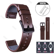 Genuine Leather Watch Band Strap Quick Release Black Brown 22mm 20mm 18mm