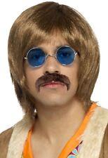 uomo anni 60 ISTANTANEO Hippie KIT Parrucca Tash CANTANTE COSTUME VESTITO KIT