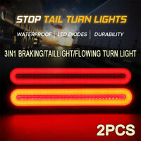 2pcs 100LED Flowing Reverse Stop Brake Turn Signal Rear Tail Light Truck Trailer
