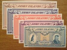 Jason Island Banknote Collection. £20, £10, £5, £1, 50p set. Uncirculated lot.
