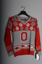 Women's Ohio State Buckeyes Big Logo V-Neck Ugly Christmas Sweater Small