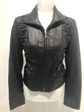 $395 NWT SUTTAN  BLACK LEATHER JACKET W/ PUCKER DETAIL ON FRONT SZ M