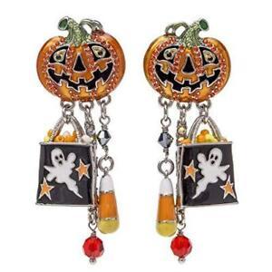 Ritzy Couture Halloween Rhinestones Pumpkin Ghost Post Earrings (Silvertone)