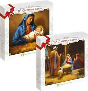 Pack Of 12 Square Traditional Religious Christmas Cards- 2 Designs