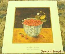 "Margaret Murton 1997 Litho Bowl of  Wild Strawberries 16"" by 16""  #9513"