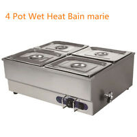 4 Pots Bain Marie Catering Wet Well Wet Heat Electric Food Warmer