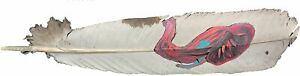 Hand Painted Elephant Design Cowboy Hat Feather, White and Pink